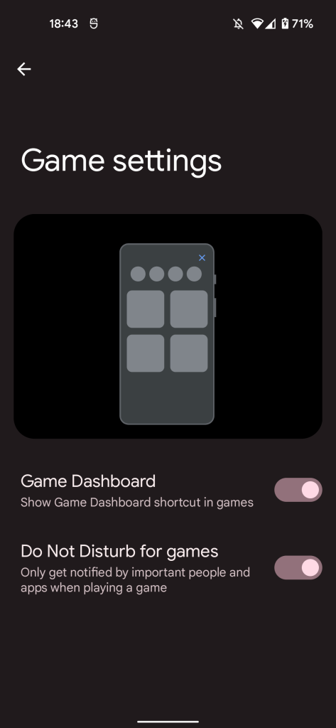 android game dashboard toggle