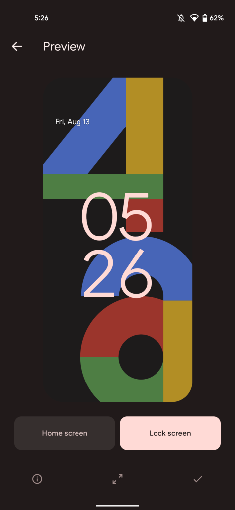 A screenshot of the Pixel 4a promo wallpaper in Google's Wallpapers app.