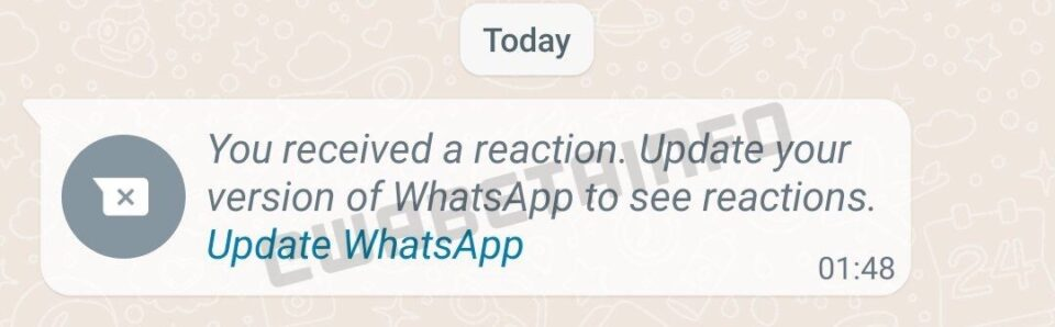 WhatsApp message reactions prompt from latest Android beta build.  Message reads: