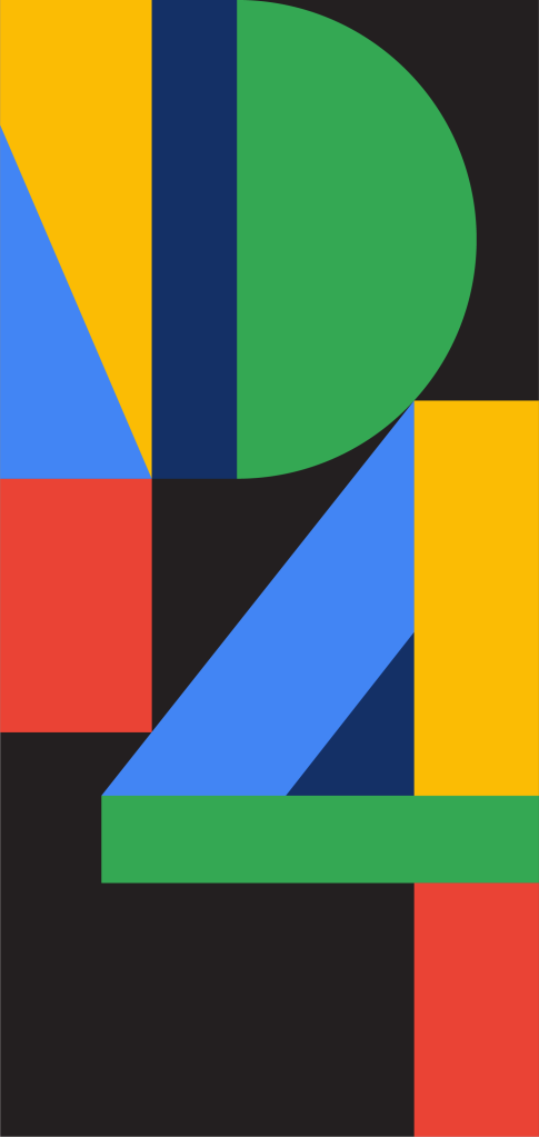 The official promo wallpaper for the Pixel 4, displaying 'P4' in large, colorful letters.