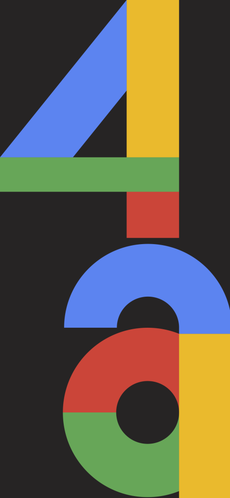 The official promo wallpaper for the Pixel 4a, displaying '4a' in large, colorful letters.