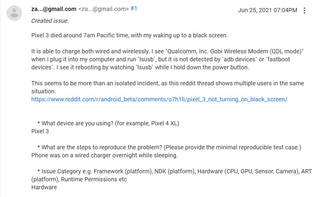 Réclamation dans les forums d'assistance Google concernant des appareils Pixel3 cassés