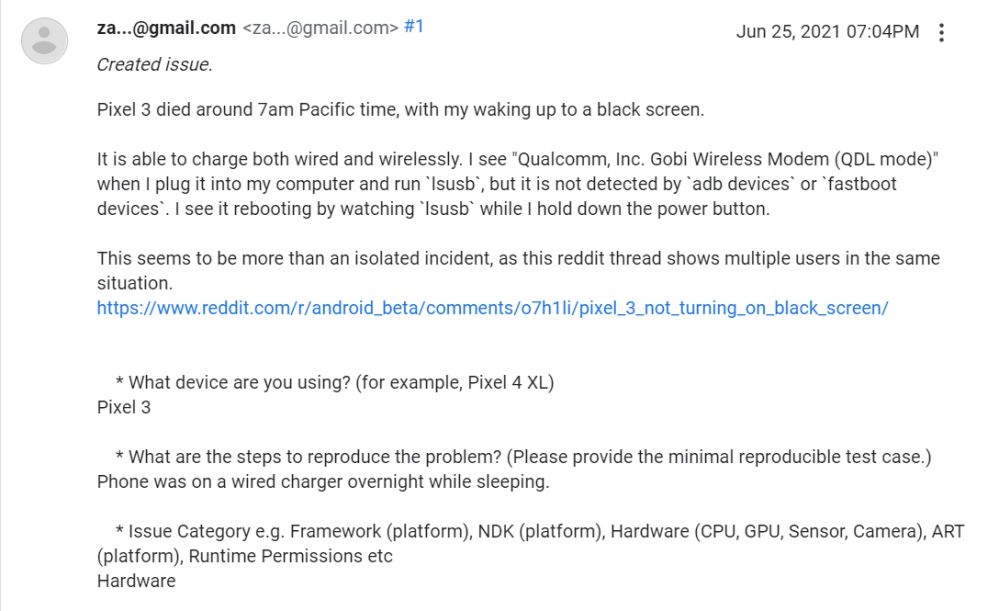 Complaint on the Google Support forums about bricked Pixel 3 devices