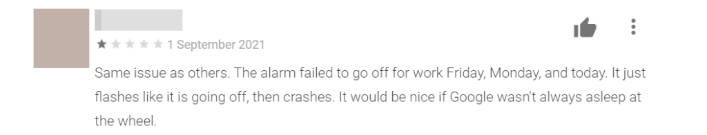 1-star review for Google Clock app due to broken scheduled alarms