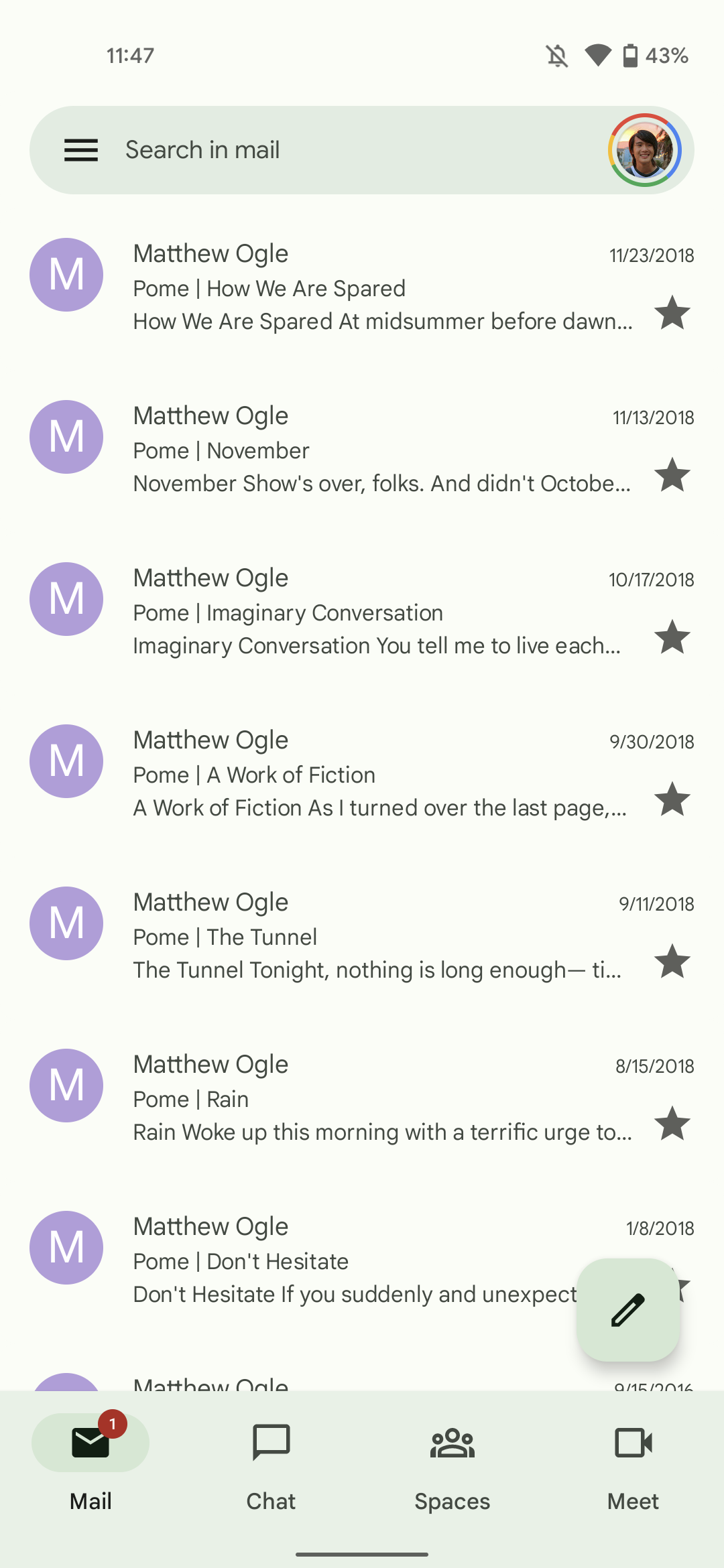 Gmail Material You redesign