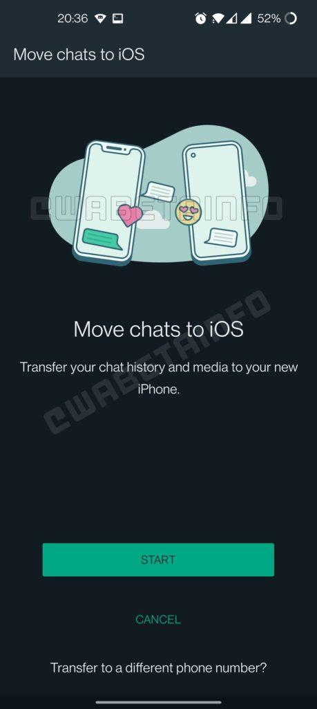 Screenshot del trasferimento WhatsApp suggerito tra Android e iOS.