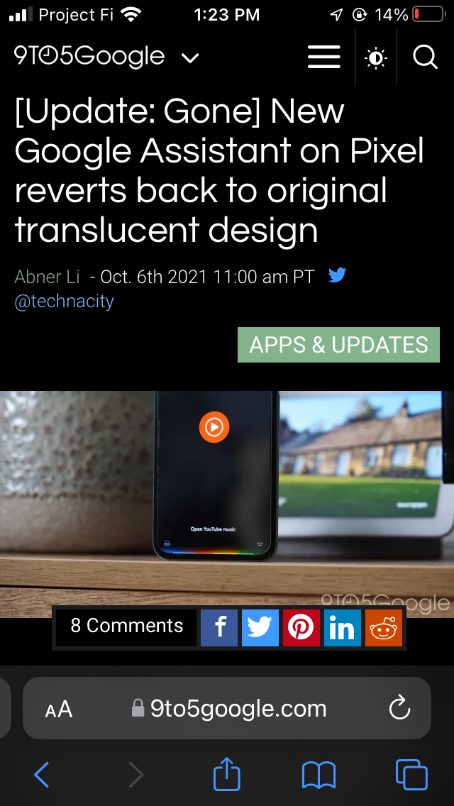Google AMP Safari iOS 15
