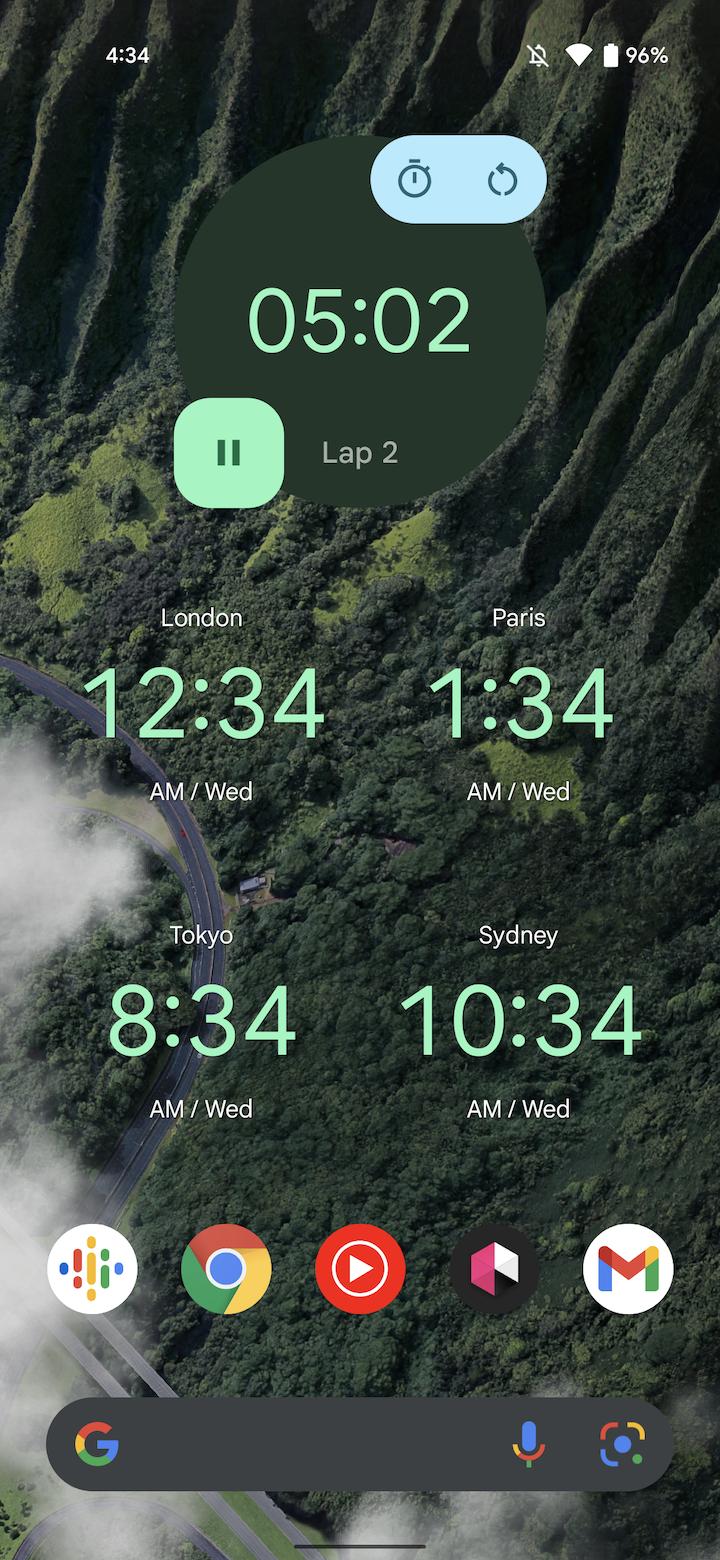 Material You Google Clock widgets